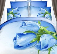 adult department store - 3D Roses department store bedding set Blue floral duvet cover cal king size queen double fitted cotton bed sheet bedspreads bedsheet