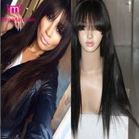 bang styles for short hair - 2015 New style Peruvian virgin full lace wigs human hair silky straight lace front wigs with bangs for african americans