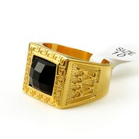Wholesale 24K Gold Plated HIPHOP Ring High Quality Hiphop European and American Style Men s Ring Dark ruby gold plating color preserving fine ring