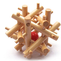 Wholesale Remove The Red Ball Adult Children Wooden Puzzle Creative Luban Lock Inch Best Gift DIY Toys