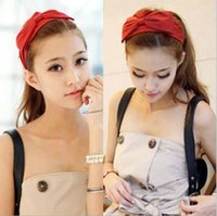 Wholesale Women silks and satins wide headbands with bowknot hair accessory headdress hair band fillet colour