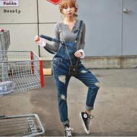 Wholesale New Plus size Korean New Womens Jumpsuit Denim Overalls Casual Skinny Girls Pants Jeans