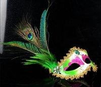 al por mayor pintura pluma de pavo real-2015 máscaras de mascarada al por mayor plumas de pavo real plumas de pavo real máscaras cosplay Máscara de baile máscara de oro en polvo máscaras de halloween
