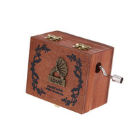 Wholesale Exquisite Hand Crank Musical Box Retro Vintage Wooden Music Box Different Patterns for Option Beautiful Decorative Patterns