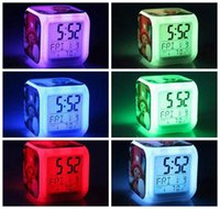 Wholesale 20PCS Frozen Anna And Elsa Digital Alarm Clock Colors LED Change Table Clocks Thermometer Night Colorful Glowing Clock Accept Mix Picture