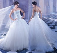 Cheap Beautiful Strapless Ball Gown Wedding Dresses Corset Bodice With Beaded Luxurious Bridal Dresses Sweep Train 2015 Demetrios 557 Wedding Gown