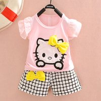 Wholesale Cat Lady T Shirt - Child Sets For 2015 Summer Kids Clothing Children Girls Lovely KT Cat Lady Suits Wholesale T-shirt +short Two-piece Outfit Retail CD160