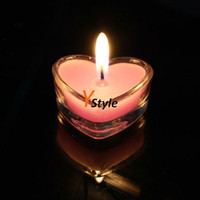Wholesale 5PCS A Heart Shape Glass Shell Wedding Candle Valentines Romantic Candle Drop Shipping Wordwidely