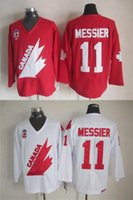 Cheap New 1991 Olympic Team Canada #11 Mark MessiIce Hockey Jersey Captain Red White Premier Stitched Mens Vintage Throwback Jerseys Free Shipping