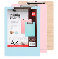 Wholesale clipboards writing board fiberboard flat clamp writing board Waterproof durable use Color blue pink wood grain board A4 size