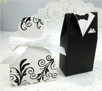 Cheap Hot Chic Candy Christmas Box Bride Groom Wedding Bridal Favor Gift Boxes Gown Tuxedo 100 pcs New
