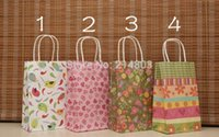 Cheap W13xH21xD8cm small pink flower paper gift bags with handles