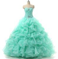venda por atacado vestidos de debutantes-Mint Verde Quinceanera Vestidos querido com Cristal frisado desossa Ruffles Organza baratos doces Vestidos 16 15 Debutante meninas Masquerade Prom