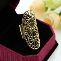 Wholesale Bijoux Women Hot Selling Charming Gold Color Alloy Hollow Out Flower Finger Ring for Women Factory Price