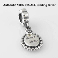 Wholesale Fit Genuine European Pandora Charm Bracelets for Womens Authentic ALE Sterling Silver Sweet Sister Pendant Dangle Micangas perles Beads