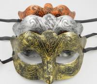 Wholesale Men s retro Greco Roman Gladiator masquerade masks Vintage Golden Silver Copper Mask silver Carnival Mask Mens Party Mask