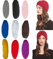Wholesale Stretchy Turban Head Wrap Band Chemo Bandana Hijab Pleated Indian Cap