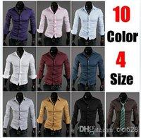 Wholesale New Mens Shirts Casual Slim Fit Stylish Dress Shirts Men Long sleeved shirt