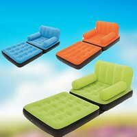 flocked inflatable sofa bed - Multifunctional Inflatable Folding Sofa Bed Flocking Leisure Single Creative Siesta Recliner Lazy Group Tatami Beanbag Lounger
