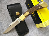 blade - Buck D A Dual action Auto conversion Knife Brass Rosewood Handle C steel Satin Plain Folding blade Tactical knife knives w sheath