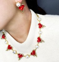 Wholesale 2015 New Fashion Crystal Pearl Alloy Heart shaped Red Ruby Stone Charm Necklace Stud Earrings set Woman Wedding Jewelry Gift JN06482