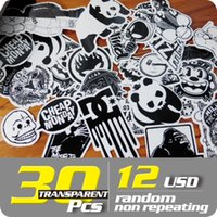 Wholesale TRANSPARENT STICKER PACK usd random non repeating bike skateboard deck notebook laptop car wall sticker bomb
