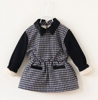 Wholesale Fashion Girls Winter Houndstooth Thicken Warm Dress Children Long Sleeve Woolen Tunic Petticoat Child Dressy Dresses Clothing cm E1367