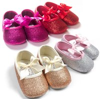 Wholesale Baby Kids Bling Bling Bowknot Soft Shoes Girls Elastic Band Moccasins baby first walker shoes Colors Available