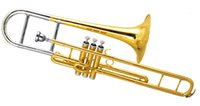 Wholesale Piston Trombone in F Pitch w wood case Free EMS shipping Musical instruments online sale