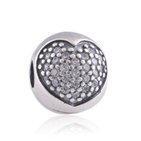 Wholesale 925 sterling silver charm clip beads heart shape fits DIY bracelet and necklace hot sale KT070A N