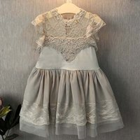 embroidery lace - 2015 Summer New Korean Style Children s Clothing Girls High Collar Lace Embroidery Half sleeve Princess Dress Flouncing
