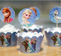 Wholesale 24pcs set Frozen Elsa Anna CupCake Toppers Picks Frozen Event Party Decoration Kids Birthday party Cupcake Wrappers Favors