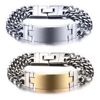 Wholesale Free Engraving Men s Large Heavy Wide Stainless Steel ID Cuban Link Chain Bracelet quot