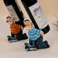 character resins - 2pcs Creative home bar wine bottle holder home decor New Products Diao smoke sailor creative wine rack wine rack resin craft character Home