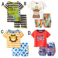 baby crabs - 2015 Summer Baby Boys Dinosaur Suits Kids Cartoon Sets Top T shirt Pants Children Cotton Crab Short Sleeve Outfits Children Clothes SZ B03