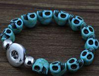 Wholesale Sketch Skull Turquoise Beads Noosa Chunks bracelets Interchangeable Snap Charm Bracelet diy beads bracelets N28