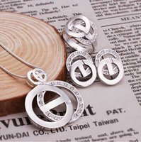 Wholesale Sterling Silver Jewelry Set Silver Fashion Jewelry Fashion Charm Pendant Necklace Earring Ring Set SMTS492