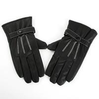 best motorcycle gloves - Best Selling Men Black Winter Leather Gloves Motorcycle Full Finger Screen Warm Gloves