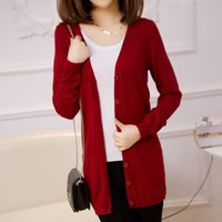 Wholesale lady wool sweater Fashion medium long cashmere cardigan women loose sweater for female outerwear coat with pockets