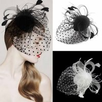Wholesale Vintage Fascinator Feather Fabric Net Hair Clip Cocktail Hat Wedding Evening Party Headdress