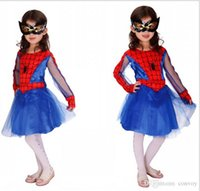 animated halloween spiders - Halloween Costume Cartoon Spider woman Cosplay Animated Children Costume for Kids Halloween Role Play Girls Dresses with Eye Mask HC16