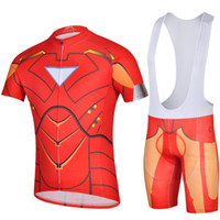 Wholesale The Avengers League Ironman Pro Cycling Jersey and Bib Shorts Superhero Iron Man Adults Steel man Cycling Suits Straps Shorts Drop Shiping
