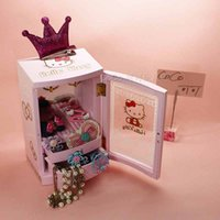 Wholesale Storage jewelry music box hellokitty kt cat adorable pink girl infant toys mirror ritual items