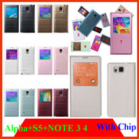 alpha windows - Smart Chip window View case cover For Samsung Galaxy alpha G8505 Note S5 N9100 Note3 Note4 i9600 N7100 Flip case Leather Battery Housing