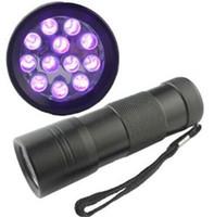 Wholesale 12 LED UV Blacklight Flashlight Torch Money Detector Light emitting Fedex