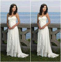 Wholesale Romantic Cheap Stock Beach Wedding Dress Formal Vestido De Noiva Sweetheart Applique Chiffon Sexy Bridal Gown Fast Delivery