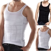 Wholesale Wholesales Men s Slim Moisture Minus the Beer Belly Shaping Underwear Abdomen Body Sculpting Vest Shapers Body Sculpting T shirt Body Shaper