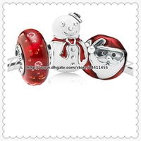 zodiac charms - Authentic Sterling Silver Charms and Murano Glass Bead Set Fits European Pandora Jewelry Charm Bracelets Red Christmas Set