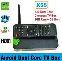 Cheap Allwinner A20 Android TV Box X55 Cheap dual core tv box with HDMI+RJ45+Android 4.2+IR remote Digital TV Box Receiver Free DHL