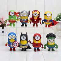 Wholesale Avengers Minions COS Super Hero Captain America Thor Superman Iron Man Batman Spider Man Hulk PVC Toys Figure